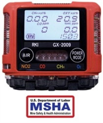 RKI Portable Gas Detector - Custom Build Gas Detector, GX-2009 MSHA
