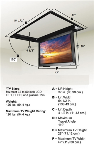 Motorized Drop Down Ceiling Tv Bracket For 32 In To 52in Tvs