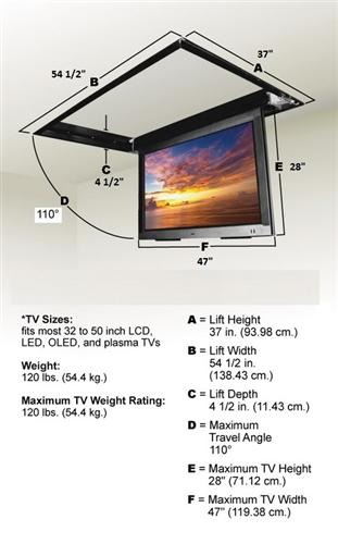 Motorized Drop Down Ceiling TV Bracket for 32