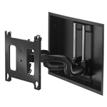 Recessed in wall box kit for large 55 in to 90in flat panels. The brackets has a .6 inch depth collapsed and extends 22inches from wall