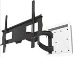 Recessed portrait landscape rotation in-wall articulating TV wall mount bracket. The bracket collapses to just 1.2 inches from the wall, extends 27 inches and swivel 180 deg.