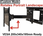 LG 55EG9100 Custom made TV wall mount fits VESA 200x340x195mm hole mounting pattern on back of TV has 31 inch extension that allows 180 deg swivel left or right