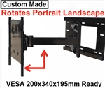LG 55EG9100 Custom made TV wall mount fits VESA 200x340x195mm hole mounting pattern on back of TV has 33 inch extension that allows 180 deg swivel left or right
