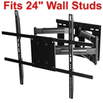 Articulating Dual Arm TV wall mount with 31in extension and wall stud plate for 24 centers, swivels left right supports 150 lbs and has 15deg adjustable tilt