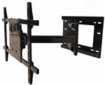 Articulating TV wall mount with 40 inch extension that allows 180 deg swivel both left and right and has adjustable tilt to help reduce overhead glare