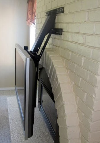 Fireplace tv mount lowers 30 inches up down - Pull down tv mount over fireplace ...