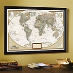 National Geographic Earth-tone World Map - Framed & Personalized