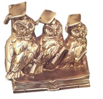 Owls of Wisdom Bookends finished in Antique Silver or Bronze
