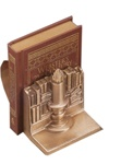 Light of Learning with Scroll Bookends