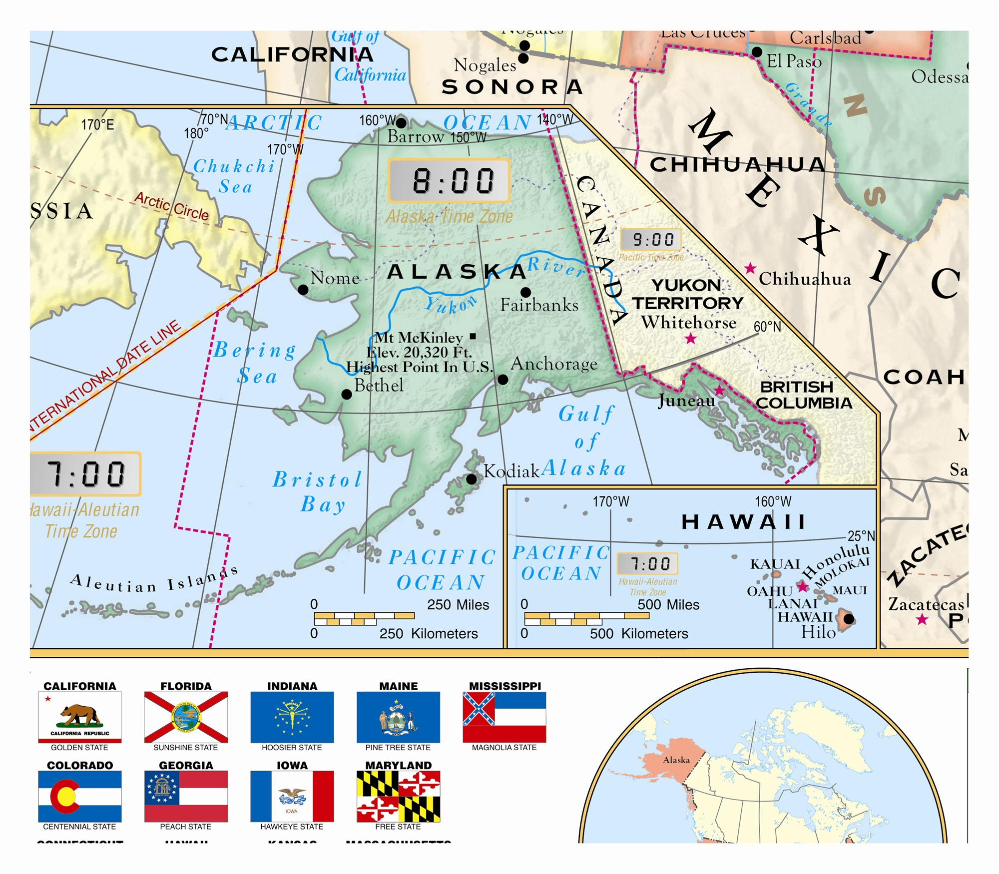 Globe US World Florida Classroom Wall Map Set Ships Free - Us map including hawaii
