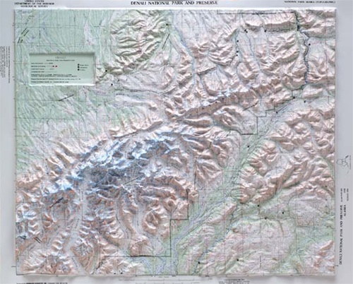 Denali National Park Topographic Map.Denali National Park Raised Relief Map From Onlyglobes Com