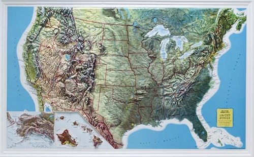 Rand McNally U.S. Raised Relief Map on us physical map, us journey map, us frontier map, us heat map, us territorial sea map, us infrastructure map, us tundra map, us explorer map, terrain features on map, us hydrology map, us terrain park council, us tree cover map, us environment map, us culture map, us santa fe map, us avalanche map, us cloud cover map, us population density map, us snowfall map, us climate map,