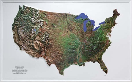 US Raised Relief Map from OnlyGlobescom
