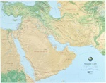 Raised Relief Map of Middle East