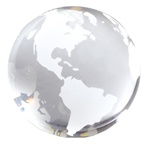 "3"" Opti-Crystal Clear Glass Globe Paperweight"