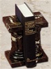 Marble Black and Gold Pedestal Bookends