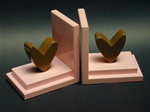 Brown Heart on Pink Base Bookends