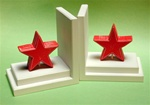 Wooden Red Star With Distressed White Base Bookends