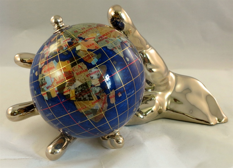 Navy blue 4 inch world in hand gemstone globe gold free shipping alternative views gumiabroncs Image collections
