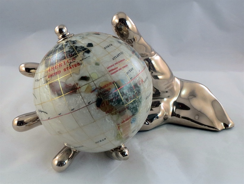 Mother of pearl 4 inch world in hand globe gold ships free low alternative views gumiabroncs Image collections