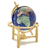 3 Inch Caribbean Blue Desk Gem Globe on Gold or Silver Nautical or Arc Stand