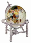 3 Inch Opal Gem Globe - Gold or Silver Nautical Desk Stand