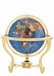 6 Inch Marine Blue Gemstone Globe on Gold Metro Stand