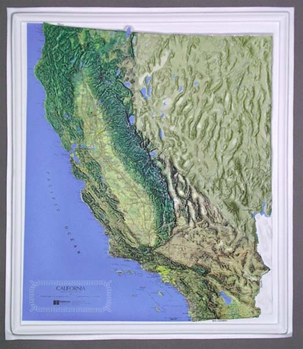 Raised Relief Maps California Raised Relief Map from OnlyGlobes.com