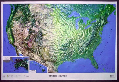 US Raised Relief Map XLarge Ships Free Low Price - Raised relief map