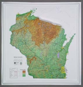 Wisconsin Raised Relief Map From OnlyGlobescom - Wisconsin on map of usa
