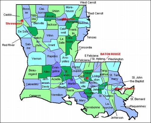 Acadia Parish Louisiana Map From Onlyglobes Com