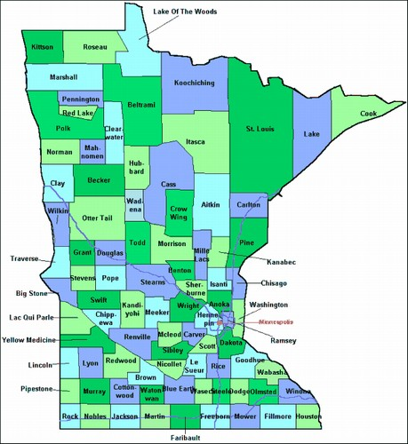 Chisago County Minnesota Map from OnlyGlobes.com on