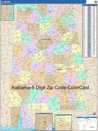 Alabama Zip Code Map from OnlyGlobes.com