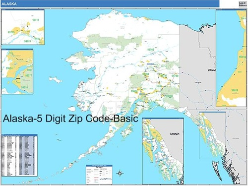 Alaska Zip Code Map from OnlyGlobes.com