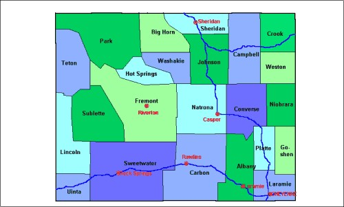 Lincoln County Wyoming Map.Fremont County Wyoming Map From Onlyglobes Com