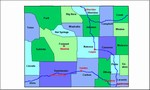 Laminated Map of Natrona County Wyoming