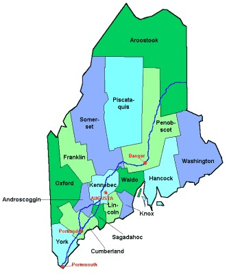 Penobscot County Maine Map from OnlyGlobes.com