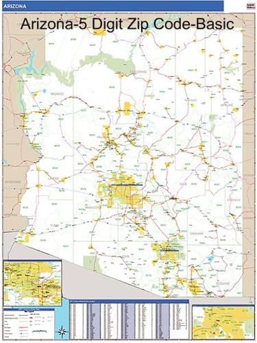 Arizona Zip Code Map-Laminated with Wooden Rails on map of la zip codes, map of ky zip codes, map of wa zip codes, map of southern ca zip codes, north phoenix arizona zip codes,