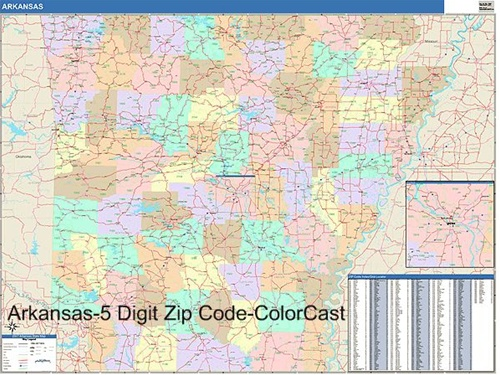 Arkansas Zip Code Map from OnlyGlobes.com