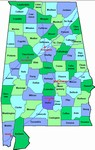 Laminated Map of Cleburne County Alabama