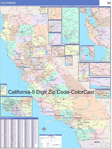 California Zip Code Map from | Ships Free & Low Price