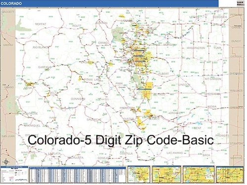 Colorado Zip Code Map from OnlyGlobes.com