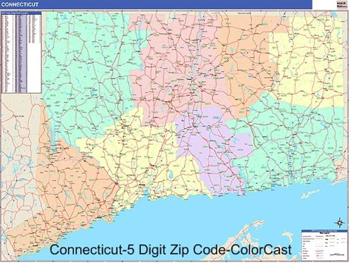Connecticut Zip Code Map from OnlyGlobes.com