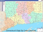 Connecticut State Zip Code Map with Wooden Rails