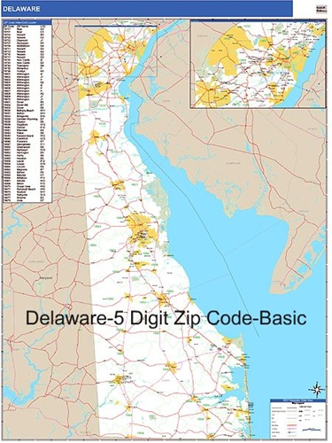 Delaware Zip Code Map from OnlyGlobes.com