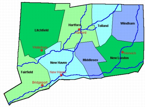 Fairfield County Connecticut Map from OnlyGlobes.com