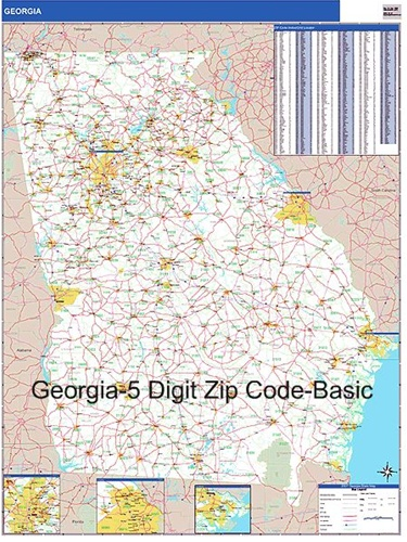 Zip Code Map Of Georgia.Georgia Zip Code Map Laminated