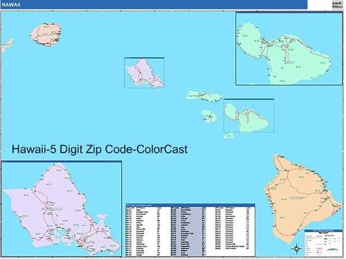 Hawaii Zip Code Map from OnlyGlobes.com