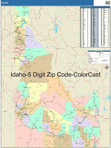 Idaho Zip Code Map from OnlyGlobes.com