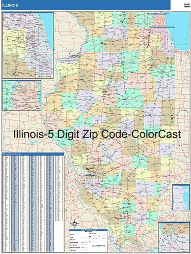 Illinois Zip Code Map from OnlyGlobes.com